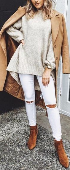 white skinny jeans. camel coat. tan ankle boots. #streetstyle