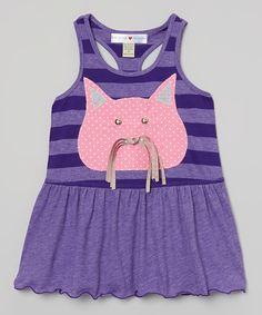 Look at this #zulilyfind! mini scraps Pink & Purple Cat Dress - Infant, Toddler & Girls by mini scraps #zulilyfinds