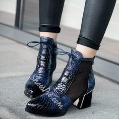 Shoespie Snake Pattern Block Heel Ankle Boots