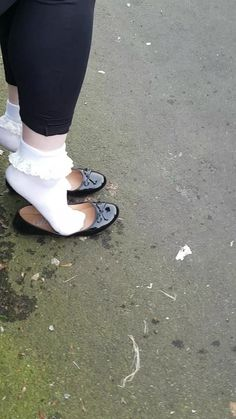 Frilly Socks, Blue Socks, Sock Boots Outfit, Sock Shoes, Ballerina Shoes, Ballet Flats, Body, Pantyhose Heels, Nylons