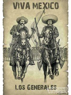 Dibujo de David González - Francisco Villa y Emiliano Zapata