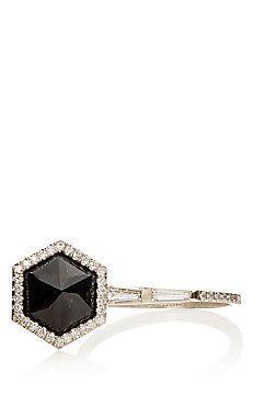 White Diamond & Black Guatemalan Jade Ring