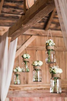 LOVE these hanging mason jar flower vases for rustic, vintage or barn wedding decor Country Wedding Decorations, Wedding Centerpieces, Chic Wedding, Rustic Wedding, Trendy Wedding, Spring Wedding, Wedding Signs, Classy Wedding Ideas, Wedding House
