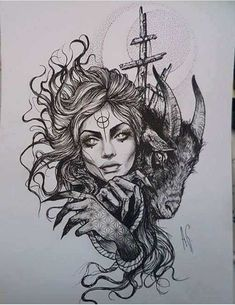 Black and White Sketches of a Tattoo Tattoo Sketches, Tattoo Drawings, Drawing Sketches, Medusa Tattoo, Witch Tattoo, Widder Tattoos, Kunst Tattoos, Black And White Sketches, Dark Art Drawings