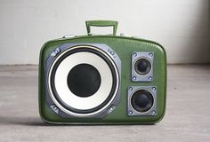 Case of Bass (from baggage to beat blaster) portable speakers made from rescued cases and recycled audio parts