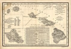 1893 MAP of Hawaiian Islands, Hawaii, Maui, Oahu, Kauai, Antique Print, (Two sizes to choose from)