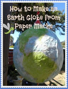 Step by step instructions on how to make an earth globe from paper mache. All you need is tissue paper, flour, water and a balloon. Instructions for more globes included. Great Earth Day project!