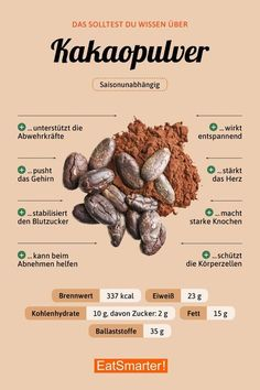 cocoa - Gesunde Lebensmittel - To eat healthy food Healthy Diet Plans, Nutrition Tips, Health And Nutrition, Healthy Life, Healthy Eating, Healthy Recipes, Keto Recipes, Universal Nutrition, Healthy Foods