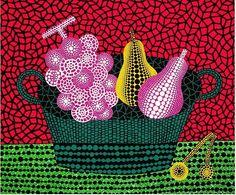 草間彌生 Yayoi Kusama ~ Fruit basket II / Panier de Fruits. Screenprint. links: http://www.my9arts.es/my9arts/K/KusamaYayoi-2.htm  https://www.kg75.com/yayoi-kusama  https://translate.google.com/translate?hl=en&sl=ja&u=http://www.moe.co.jp/artist/kusama-yayoi/index.html&prev=search