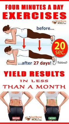 The plank does not give immediate results, however, if you are patient, the results will be amazing. What you have to do is hold the plank for for four weeks. The first week you will have to stay in the position for 20 seconds, after a while, you should slowly and steadily increase the your stamina until you can do it for four minutes. Just follow the next plan we are about to present you.