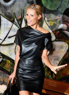 Michelle Hunziker on a Trussardi 1911 leather dress
