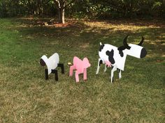 DIY farm animals.  Made from card board for a barn themed parade float.