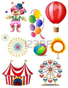 Illustration of a clown playing balls with different circus stuffs on a white background photo