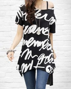 $7.22 Plus Size Round Collar Letter Print Short Sleeves Long T-Shirt For Women