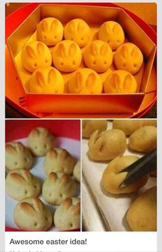 Bunny Rolls: To create these bunny buns, you'll need your favorite bread roll dough, homemade or store bought. Form a small ball of dough and then use kitchen shears to snip small triangles to add to the top as the bunny ears. Roll a small circle of dough and attach it to the front end of the roll to create a nose. Bake the buns according to the directions for the dough you use. Create eyes using decorations like frosting or chocolate chips, or simply poke holes with a toothpick.