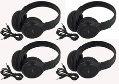 """Four Pack of Two Channel Folding Adjustable Universal Rear Entertainment System Infrared Headphones With Four Additional 48"""" 3.5mm Auxiliary Cords Wireless IR DVD Player Head Phones for in Car TV Video Audio Listening With Superior Sound Quality - http://www.caraccessoriesonlinemarket.com/four-pack-of-two-channel-folding-adjustable-universal-rear-entertainment-system-infrared-headphones-with-four-additional-48-3-5mm-auxiliary-cords-wireless-ir-dvd-player-head-phones-for-in-ca"""