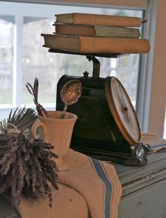 vintage scale with books