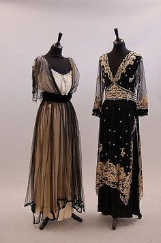 Two evening/formal wear dresses, circa 1914-1918, via Kerry Taylor Auctions.
