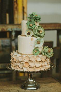 Rustic Ruffles & Flowers Cake