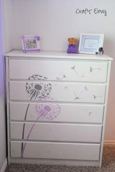 Dandelion stenciled dresser. Little girl's room.