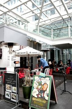 Cafe MAMA's     if you find yourself in downtown late at night, craving comfortable food or a strong cup of coffee, go one of these cafes.— at Cheonggyecheon stream, Seoul.