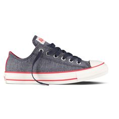 Converse Navy/Pink Denim Ox ($55) ❤ liked on Polyvore featuring shoes, sneakers, converse, sapatos, zapatos, all star, denim, lady foot locker, converse trainers and pink shoes