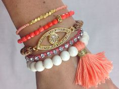 Coral Crush Boho Bracelet Stack- Arm Candy Stacked Bracelets in Peach, Coral and White ... but without the tassel.  Yes, the tassel has to go.