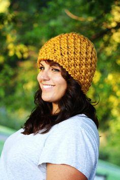 92c9c0c92d2 Crochet Thick Hat- Beanie- Mustard Yellow Goldenrod  chunky  knit  beanies  www.loveitsomuch.com