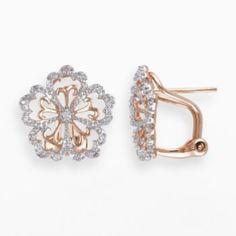 Miadora 14k Rose Gold 1/10-ct. T.W. Round-Cut Diamond Flower Stud Earrings