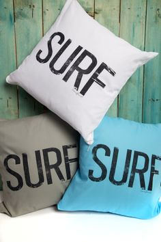 New surf statement cushions for a beachy vibe. In at the Beach Boutique www.surfgirlbeachboutique.com