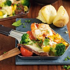 Raclette mit Gemüse Raclette Recipes, Raclette Cheese, Raclette Party, Raclette Ideas, Barbecue, Vegetarian Recipes, Healthy Recipes, Healthy Food, Good Food