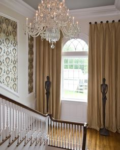 2008 Richmond Symphony Designer Show House. Love the tall sculptures by Raymond Waites. Wallcovering installed by Tommy Barden of Barden's Decorating for Jennifer Stoner Interiors. Cornice Design, Decor, Drapery Designs, Interior Design Work, Arched Windows, Window Bling, Arched Window Treatments, Beautiful Curtains, Front Door Curtains