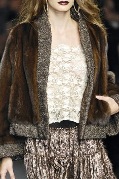 Mariella Burani - Rich brown fur and wonderful textures. Beautiful.