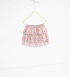 Printed lace frilled skirt