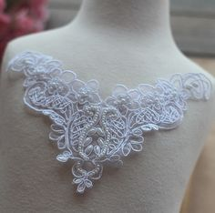 White Alencon Lace Applique Pearl Beaded Patch For by Lacebeauty
