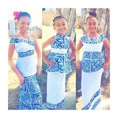 Beautiful puletasi designed in different cuts, but, same material pattern for flower girls. Samoan Designs, Polynesian Designs, Island Wear, Island Outfit, Girl Outfits, Fashion Outfits, Fasion, Samoan Dress, Island Style Clothing