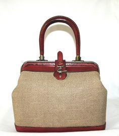 d333251de71 Vintage 1960 s Etienne Aigner Tweed   Burgundy Leather Top Handle Handbag  Purse