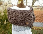 Brown Hooded Capelet Shawl Crochet Cape or Poncho.