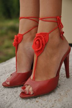 Crochet Barefoot Sandals Red Rose Lace shoes Beach Pool by barmine
