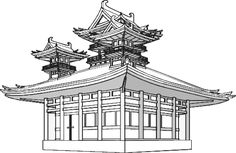 famous japanese temples drawings - Google Search