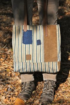 ticking stripe leather bag etsy