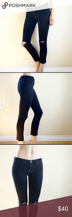 """J Brand distressed skinny jeans Black J Brand distressed low rise skinny jeans with knee holes. A classic look, necessary for any wardrobe. These are marked size 27 but the denim is not very stretchy so they fit tight on me and I'm a 26. I recommend for 25/26. I'm 5'11"""" for length reference. J Brand Jeans Skinny"""