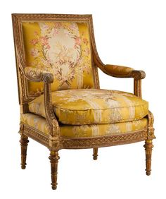 Georges Jacob (1739–1814); gilder: Louis–François Chatard (ca. 1749–1819). Armchair from Louis XVI's Salon des Jeux, Château de Saint-Cloud. French (Paris), 1788. Carved and gilded walnut; gold brocaded silk. The Metropolitan Museum of Art