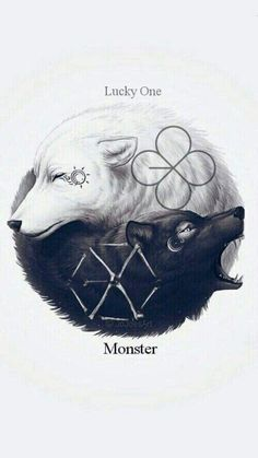 62 ideas for wall paper kpop exo fanart Exo Lucky One, Ying Y Yang, Yin Yang Wolf, Yin Yang Art, Exo Monster, Monster Board, Wolf Artwork, Wolf Spirit Animal, Mythical Creatures Art