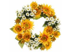 """Faux 24"""" Sunflower/Daisy Wreath Yellow Cream (Pack of 2) by Silk Decor. $103.44. Height - 24"""". This listing is for 1 case. You will receive 2 items per case - 1 item shown in picture. 24"""" Sunflower/Daisy Wreath Yellow Cream. Weight: 37.00 OZ (Pack of 2)Some assembly may be required. Please see product details. Some assembly may be required. Please see product details."""