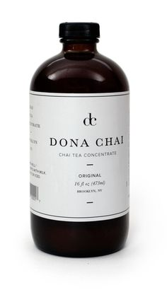 Dona Chai 16oz bottle  Two bottles per pack  Refrigerate after opening  For a latte, mix equal parts with milk. Heat or ice.     Ingredients: purified water, granulated sugar, fresh ginger, cinnamon,  green cardamom, organic black tea, fresh lemon juice, molasses, black  pepper, cloves.