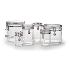 Six clear, airtight acrylic containers are an attractive and useful addition to any kitchen. Perfect for keeping pantry staples fresh and within easy, clear reach.