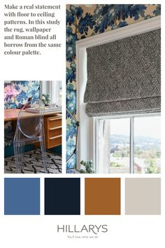 Jagger Denim Roman blind is a fashion-forward take on a traditional herringbone print. With its spiky edges and rubbed out lines, this stunning print strikes the perfect balance between classic geometric and modern abstract cool. Add some striking prints into your home office interiors. Blue Interiors, Office Interiors, Small Office Design, House Blinds, Fabric Blinds, Guest Bathrooms, Small Windows, Roman Blinds, Elle Decor