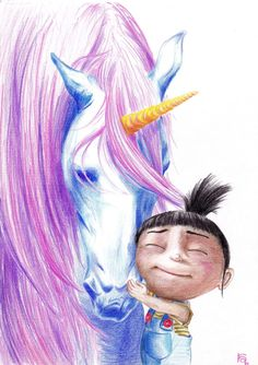 Amazing color pencil drawing of Agnes and her fluffy pony by KAMIZZI of Deviantart