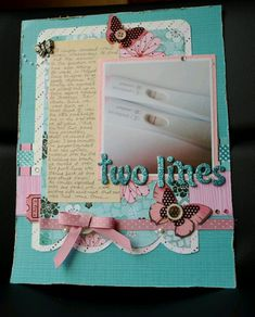Pregnancy Test Scrapbook Page A layout today! ♥ I am definitely out of the swing of scrapbooking, but I have to admit that I was so pleased w. Can You Smash Your Baby While Pregnant Pregnancy Scrapbook, Baby Girl Scrapbook, Baby Scrapbook Pages, Pregnancy Books, Pregnancy Journal, Baby Journal, Scrapbook Cards, Pregnancy Test, Scrapbook Albums